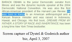 Screen Capture Soetoro-Dystel-Goderich-Author Bio. April 3, 2007